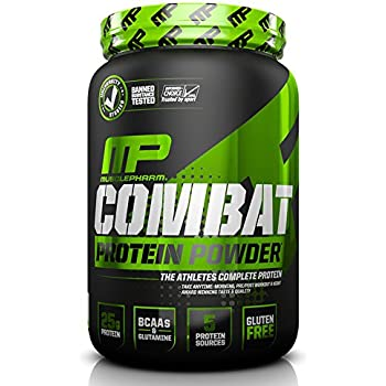 MusclePharm Combat Protein Powder - Essential blend of Whey, Isolate, Casein and Egg Protein with BCAA's and Glutamine for Recovery, Vanilla, 2 Pound