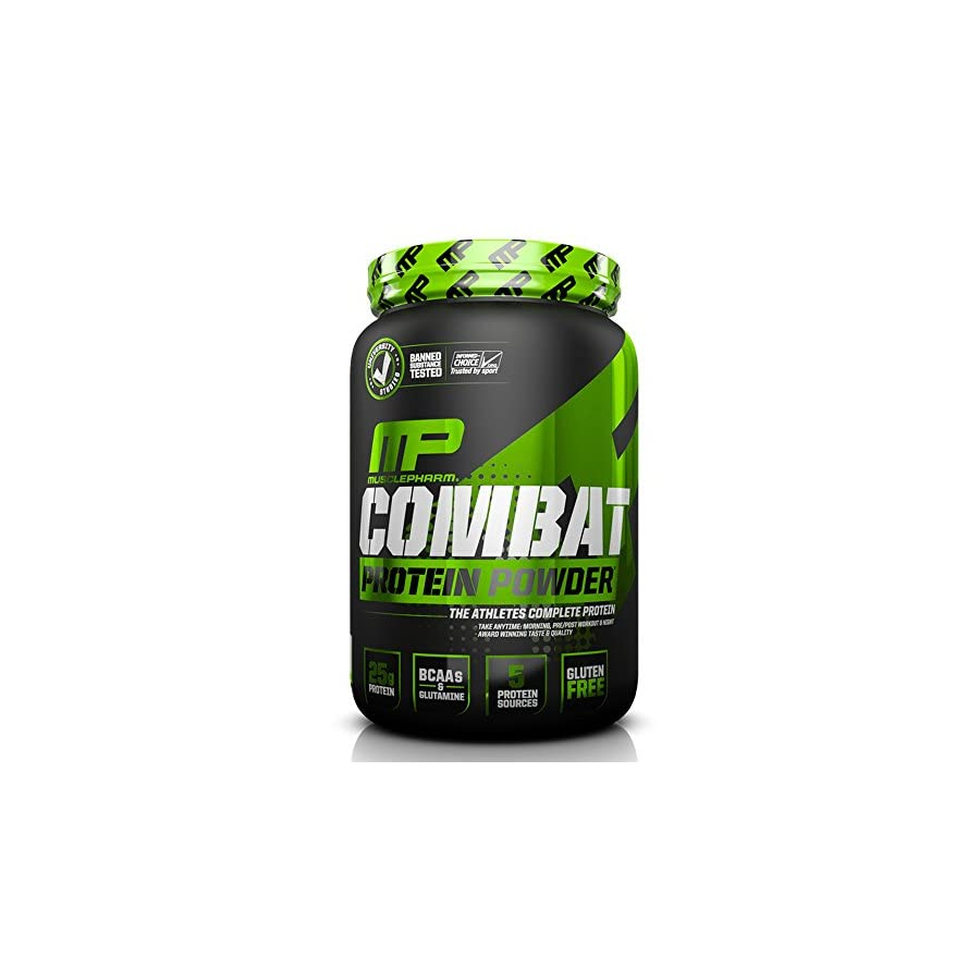 MusclePharm Combat Protein Powder, Essential Whey Protein Powder, Isolate Whey Protein, Casein and Egg Protein with BCAAs and Glutamine for Recovery, Chocolate Milk, 10 Pound, 129 Servings