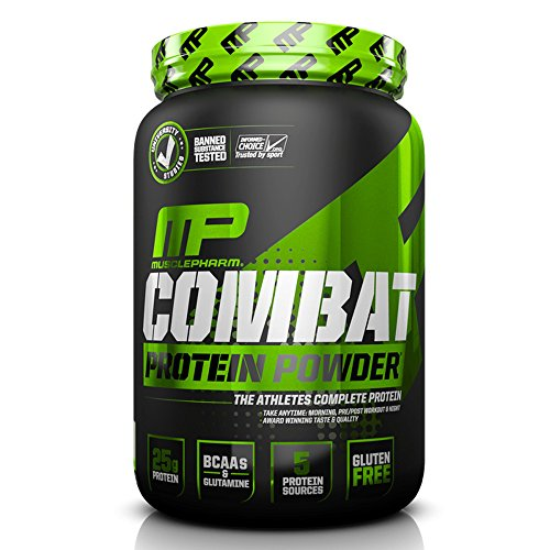 - MusclePharm Combat Protein Powder, Essential Whey Protein Powder, Isolate Whey Protein, Casein and Egg Protein with BCAAs and Glutamine for Recovery, Vanilla, 2-Pound, 26 Servings