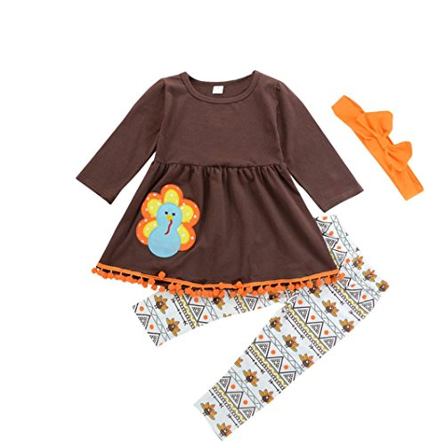 Coohole Amazing Thanksgiving Toddler Kids Baby Girl Outfits Clothes Dress Tops+Pants Outfit Set (3T, - Outfits Girl Spice