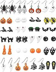 Halloween Earrings for Women Halloween Stud Pumpkin Earrings Black Cat Spider Bat Skeleton BOO Earrings for Gi