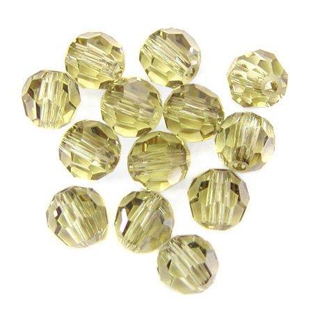100 pcs 4mm Swarovski Crystal Round Beads 5000, Jonquil Satin, SW-5000