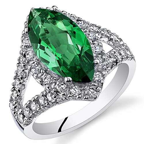 3.00 Carats Marquise Cut Simulated Emerald Ring Sterling Silver Size 8
