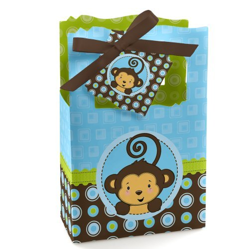 Monkey Boy - Baby Shower or Birthday Party Favor Boxes - Set of 12
