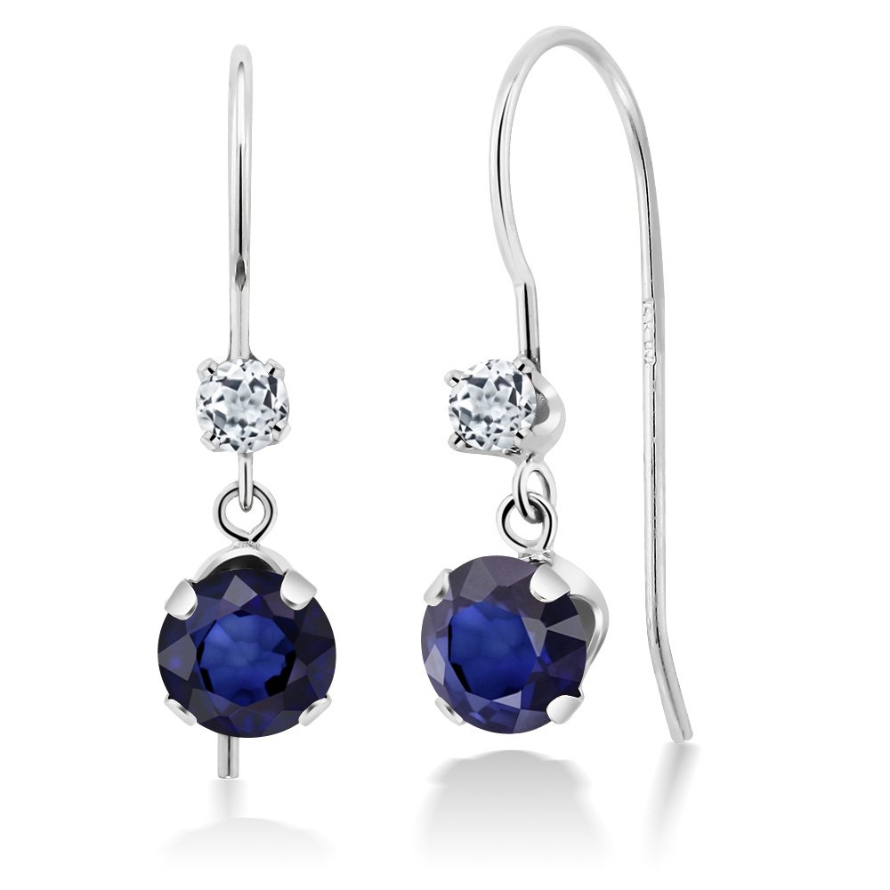 1.24 Ct Round Blue Sapphire and White Topaz 14K White Gold Earrings
