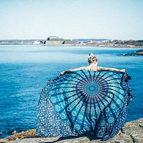 Wall Hanging Throw Blanket - NALEDI Square Mandala Tapestry Bohemian Tapestry Beach Blanket, Psychedelic Wall Art, Dorm Décor Beach Throw, Indian Wall Tapestries Art,Wall Hanging, Yoga Mat, Picnic Mat, Table Throw (blue)