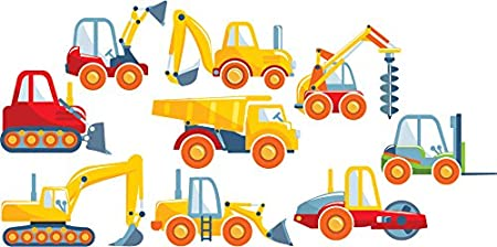 Digger Truck Wall Sticker Set Construction Wall Decal Boys Room Nursery Decor available in 8 Sizes X-Small Digital IconWallStickers