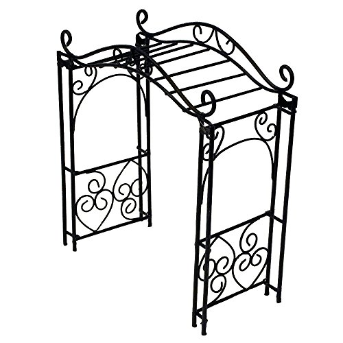 Provence AF3019 Iron Mini Fairy Garden Pergola, Black ()