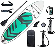 Aqua Plus 11ftx33inx6in Inflatable SUP for All Skill Levels Stand Up Paddle Board, Adjustable Paddle,Double Ac