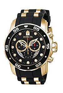 Invicta Men's Pro Diver Quartz Watch with Black Dial Chronograph Display and Black PU Strap 6981