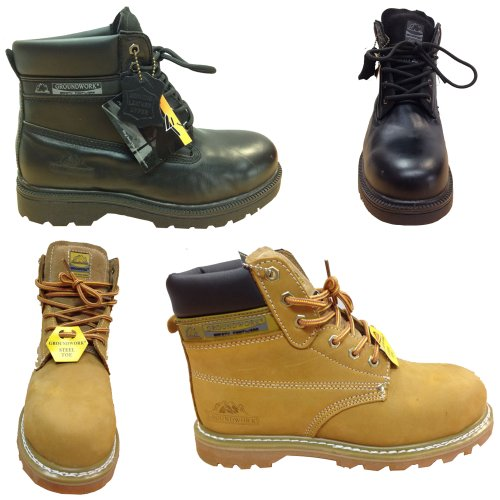 Branded Safety Toe New Ankle Shoes Boots Footwear Work Trainers Hiking Steel Work Yellow Cap Groundwork Mens IRa5wxBB