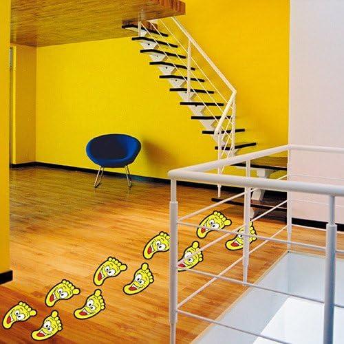 Hongrun Kindergarten de la habitación de los niños pegatinas de pared escaleras pequeños pies etiqueta de piso baño baño huellas de gran tamaño sonrisa cara pegatinas: Amazon.es: Hogar