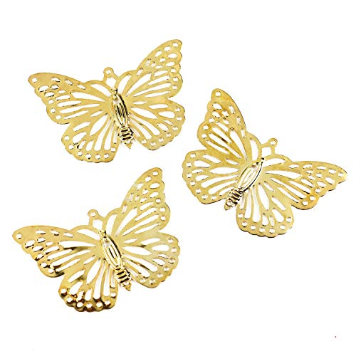 Pomeat Gold Color Metal Filigree Butterfly Wraps Connectors Link Chain Connector Charm for Crafts Jewelry Making