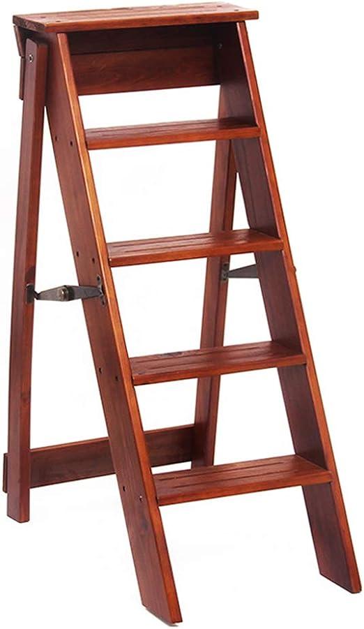 Escaleras de Silla Plegable de Madera Maciza Taburetes, 5 Pasos, Escalera de Mano portátil/Sillas de Escalera Estante de Madera multifunción para Cocina/Oficina/Biblioteca: Amazon.es: Hogar