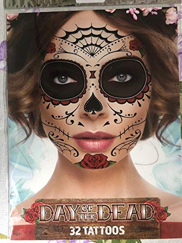 Red Roses Day of the Dead Sugar Skull Temporary Face Tattoo Kit - Pack of 2 Kits -