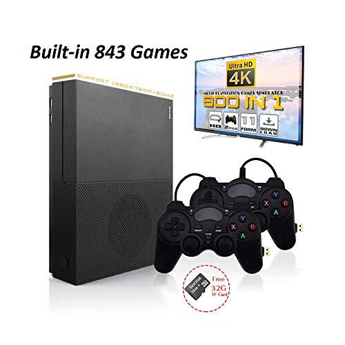 - MJKJ Retro Game Console , 4K HDMI TV Output Video Game Console Built-in 843 Classic Game Console with 2PCS Joystick - Black
