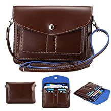 Universal Fashion Soft PU Leather Cell Phone Bag Purse Case Cross Body Wallet Pouch with Shoulder Strap & ID Cards Holders for Carrying iPhone6s/6s plus/6/6 Plus/5s and Samsung Series Phones(Coffee)