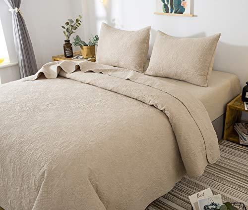 ONESHINE Quilt Bedding Set - All-Season Soft Microfiber Bedspread & Coverlet, Lightweight Hypoallergenic - Pre Washed - Solid Colors - Simple Design (King + 2 Shams, Camel)
