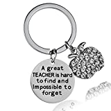 A Great Teacher is Hard to Find and Impossible to Forget Crystal Charm Appreciation Keychain Keyring Teacher Gift