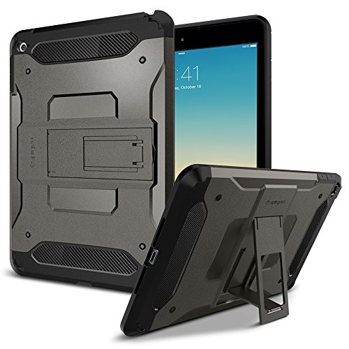 Spigen Tough Armor iPad Mini 4 Case with Kickstand and Extreme Heavy Duty Protection and Air Cushion Techonology for Apple iPad Mini 4 2015 - Gunmetal