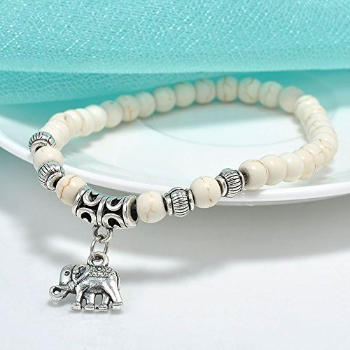 White Turquoise 6MM Beads Tibet Silver Charm Elephant Pendant Elastic Bracelet (Elephant White Bracelet)