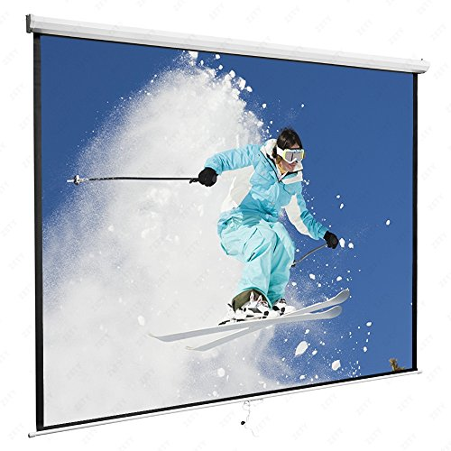 KUPPET 120 Indoor Projector Screen W/black Masked Borders 120'' 1:1 Screen Matte Manual Pull Down Movie Screen for Home Cinema Theater Presentation, Training, Conference Presentations etc, White by KUPPET