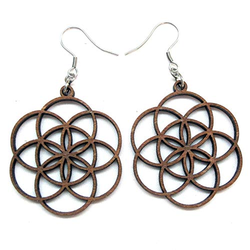 - Seed of Life Earrings with Silver hooks, Wooden laser cut earrings, Sacred Geometry Jewelry