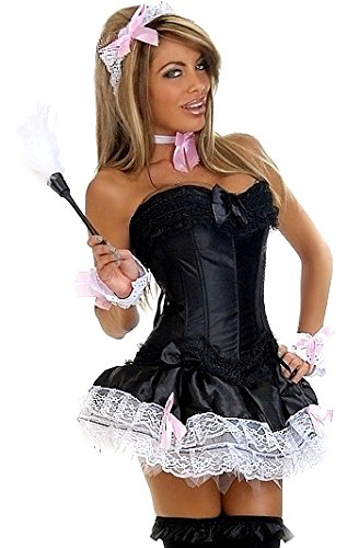 (Daisy Corsets Women's 6 Piece Pin Up French Maid Costume, Black,)