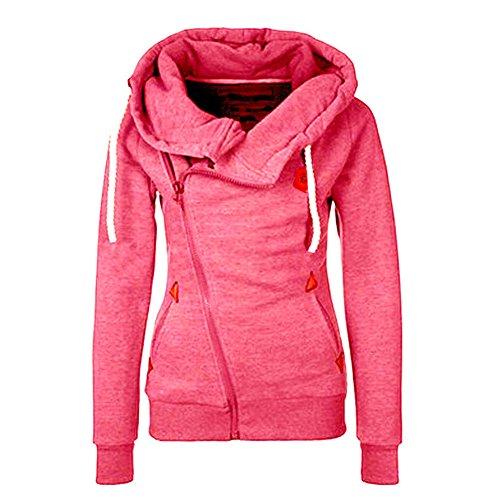 Sleeve Funnel Neck Jacket - Newbestyle Women Oblique Funnel Neck Zipper Up Hoodies Casual Long Sleeve Sweatshirt Coat, Rose Red, Large