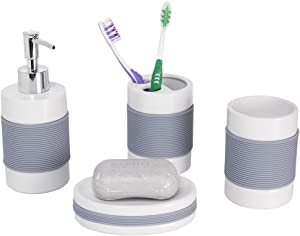 Home Basics 4 Piece Bath Accessory Set with Rubber Grip, Featuring Soap Dish, Toothbrush Holder, Tumbler, Soap Dispenser, White