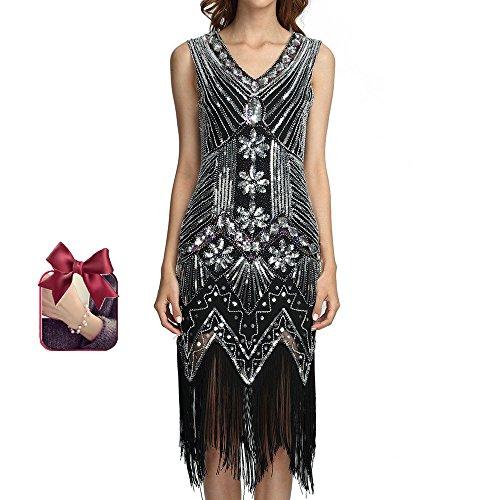 1920s Gatsby Flapper Dresses Sequin Art Embellished Great Gatsby Vintage Dress