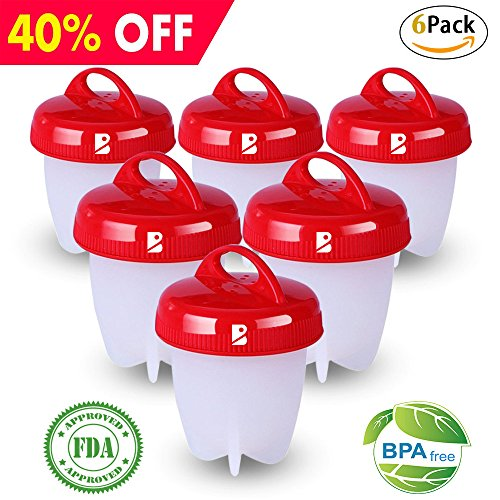 Egglettes Egg Cooker Hard Boiled Eggs without the Shell, Egg Cooker AS SEEN ON TV,  Egg Cooker Set of 6 Non-stick Silicone (Pop Shells)