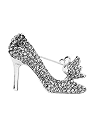SunniMix Silver/Gold Plated Crystal High Heels Shoes Princess Brooch Pins for Women Girl