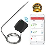 remote bbq thermometer iphone - Smart Bluetooth BBQ Grill Thermometer - V2 Upgraded Stainless Probe - Wireless Remote Alert iOS Android Phone WiFi App - Safe to Leave in Oven, Outdoor Barbecue or Meat Smoker - NutriChef