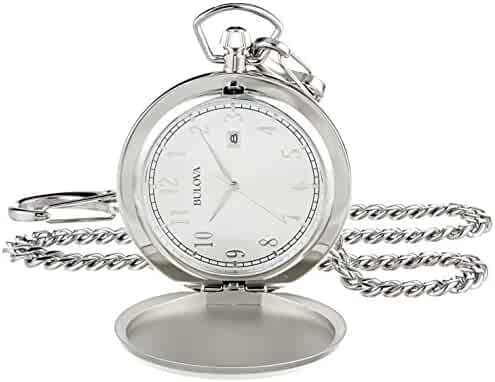 Bulova Men's Quartz Stainless Steel Pocket Watch, Color:White (Model: 96B270)