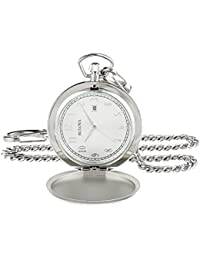 Men's Quartz Stainless Steel Pocket Watch, Color:White (Model: 96B270)