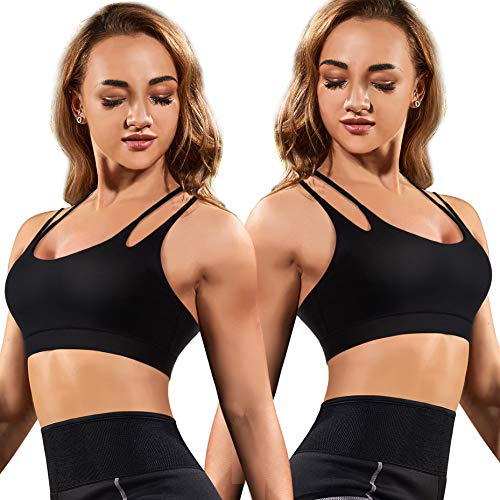 Details about  /Rolewpy Women/'s Sports Bra Medium Support Strappy Wirefree Yoga Bras Workout Gym