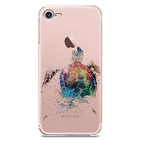 iPhone 8 Plus Case, JICUIKE [Painted Print] Cute Animal Slim Personality Design Clear Silicone Bumper Lovely Sea turtle Back Cover For iPhone 7 Plus, 5.5 Inch [Watercolor Turtles] (Seas Machine Color)
