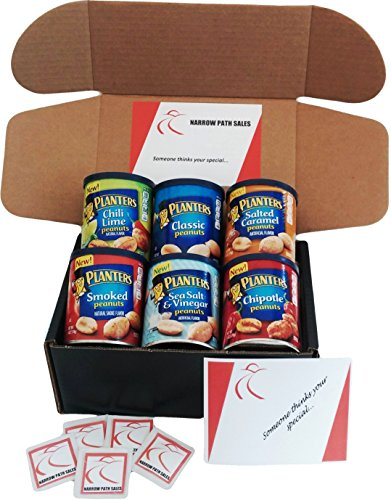 Smoked Peanut (Planters Peanuts Variety Snack Pack & Gift Box. 6- 6oz Cans of Assorted Healthy Peanuts, Includes: Chili Lime, Classic, Salted Caramel, Smoked, Chipotle, Sea Salt Vinegar. Bundle of 6 Nut Variety Pack)
