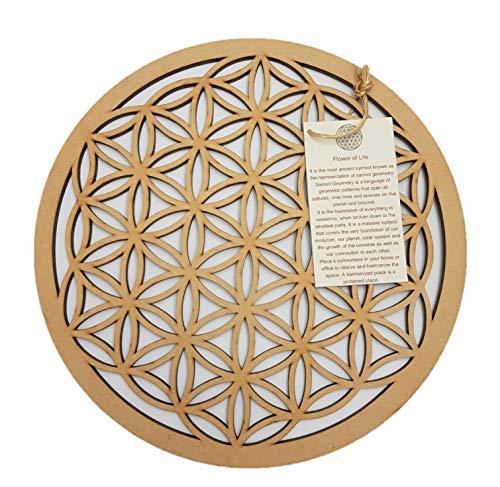 (DOFER Crystal Grid Flower of Life Sacred Geometry Wall Art The Flower of Life Flower of Life Decor Positive Energy Decor)