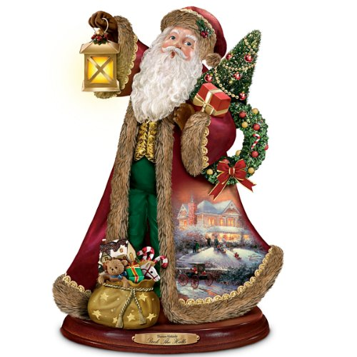 Thomas Kinkade Santa Claus Christmas Sculpture: Deck The Halls by The Bradford Exchange
