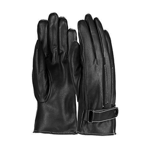 Sudawave Mens Luxurious PU Leather Gloves Outdoor Driving Warm Gloves Cashmere Mittens Winter (Black Button)