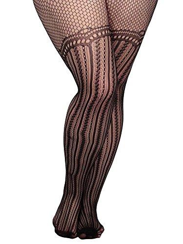 Simplicity® Plus Size Uniform Sexy Fishnet Pantyhose with PatternGarter stripe