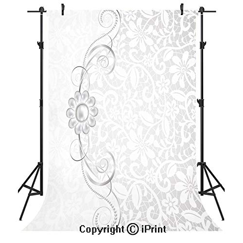 Silver Photography Backdrops,Lace Inspired Flourish Motifs Background with Bridal Flower Border Wedding Theme,Birthday Party Seamless Photo Studio Booth Background Banner 5x7ft,Silver White