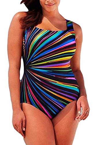 (Women's Plus Size One Piece Swimsuits Pro Athletic Bathing Suit Blouson Bandeau Off Shoulder Backless Swimwear Slimming Control Beachwear A Rainbow 2XL (US Size 14-16))