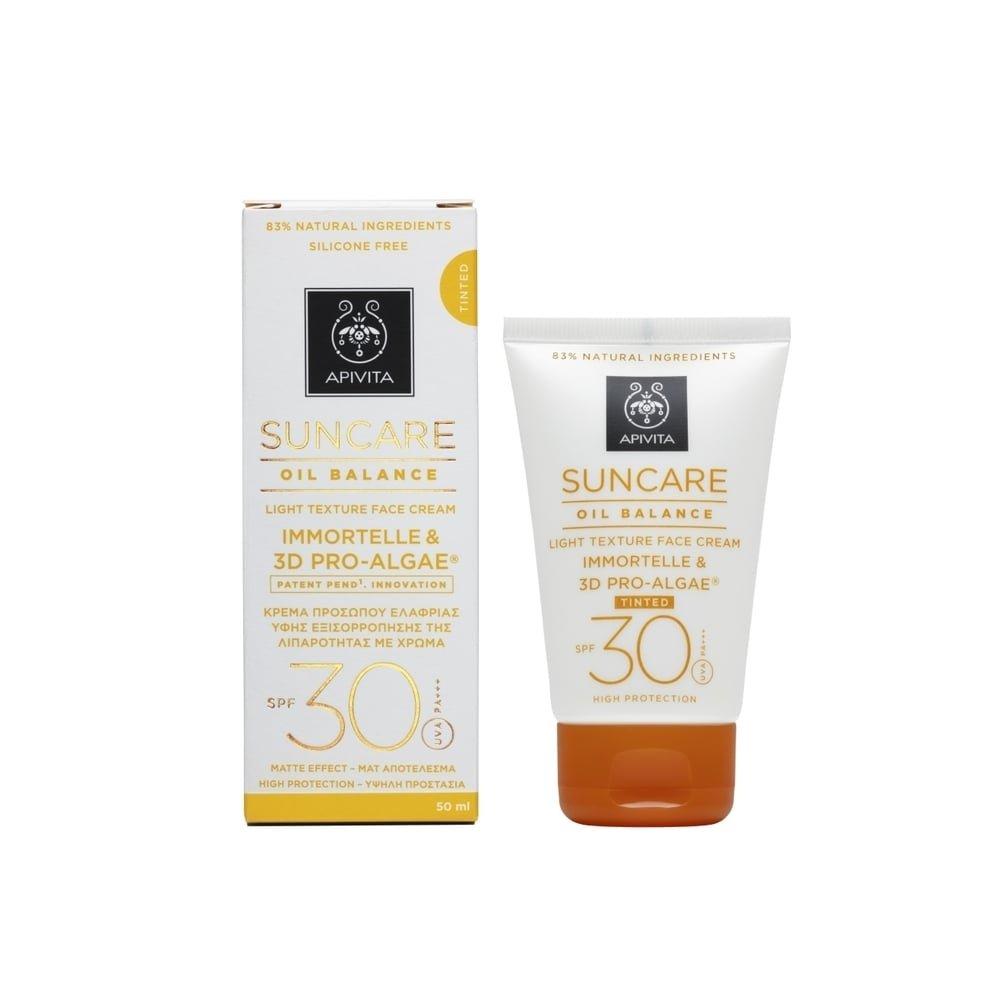 3 X Apivita Suncare Oil Balance Tinted Face Cream SPF30 With Immortelle & 3D Pro-Algae - 3 Tubes X 50ml/1.7oz each one
