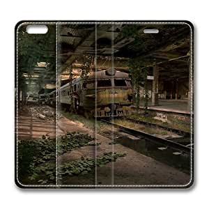 Abandoned Train Station Standing Leather Smart Cover Case Exclusive for iPhone 6 Screen