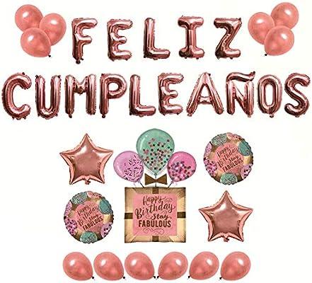 Pack Globos Feliz Cumpleaños Rosa - 1 Decoración Regalo 100cm + 2 Estrellas 45cm + 2 Piezas Redondas 45cm + 15 Letras + 12 Globos: Amazon.es: Juguetes y juegos
