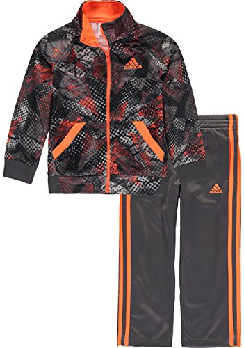 adidas Little Boys' Tricot Jacket and Pant Set, Digi Fusion Grey, (Adidas Tricot Logo Jacket)
