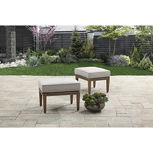 (Elegant,Durable and Fade Resistant Better Homes and Gardens Davenport 2 Piece Outdoor Ottomans,Light Brown,Brown,Nice Addition to Any Deep Seating Sets)